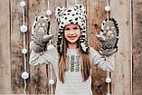 Детская шапка зимняя для девочек НЕБРАСКА (набор) оптом,серый, фото 5
