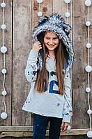 Детская шапка зимняя для девочек НЕБРАСКА (набор) оптом,серый, фото 1
