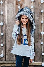 Детская шапка зимняя для девочек НЕБРАСКА (набор) оптом,серый