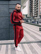 Мужской бордовый спортивный костюм с лампасами, бордовый костюм с лампасами