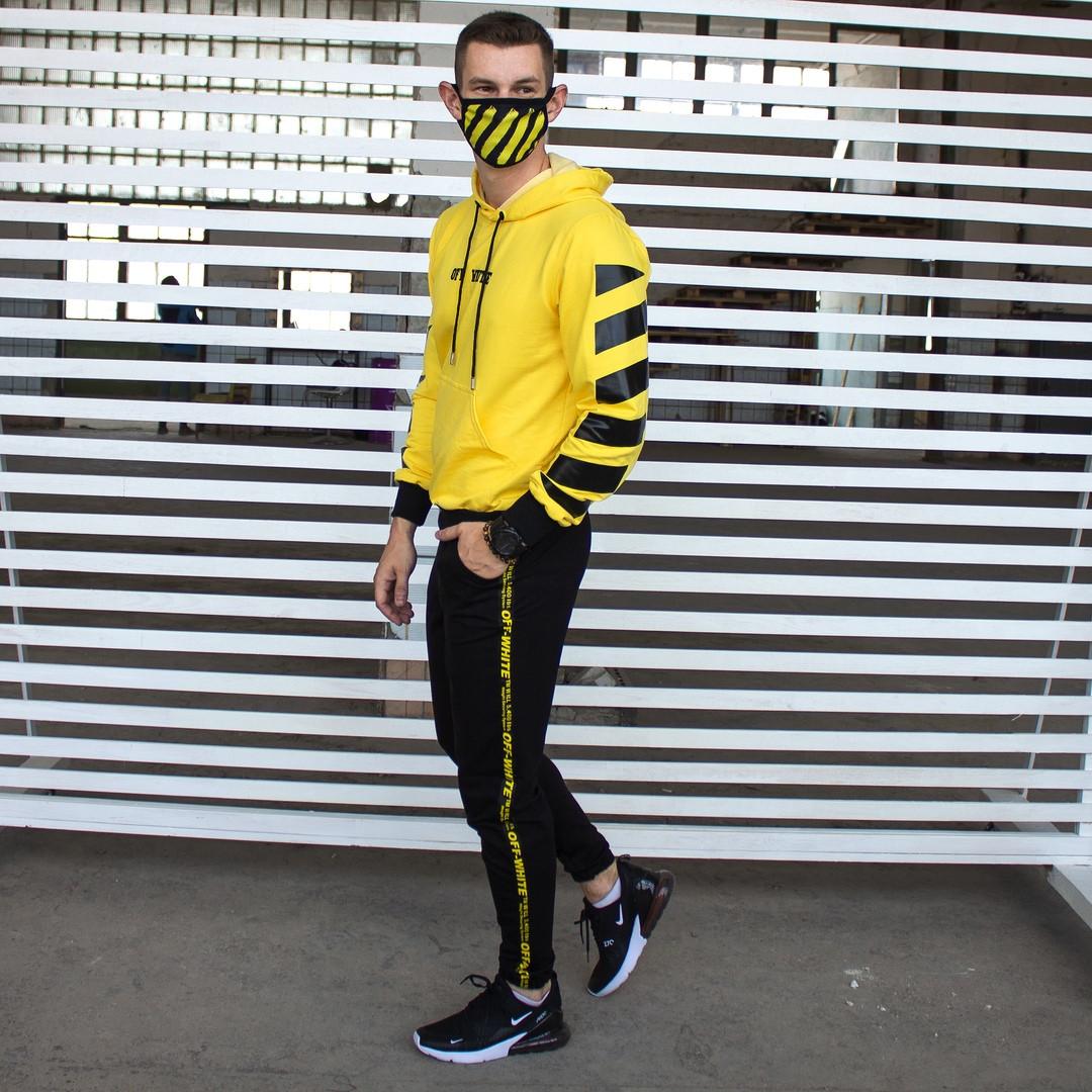 Утепленный спортивный костюм мужской черный с желтым,  модель Off White