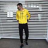Утепленный спортивный костюм мужской черный с желтым,  модель Off White, фото 2