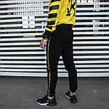 Утепленный спортивный костюм мужской черный с желтым,  модель Off White, фото 3