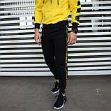 Утепленный спортивный костюм мужской черный с желтым,  модель Off White, фото 4