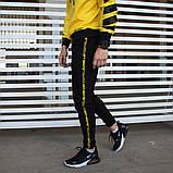 Утепленный спортивный костюм мужской черный с желтым,  модель Off White, фото 6
