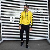 Утепленный спортивный костюм мужской черный с желтым,  модель Off White, фото 7
