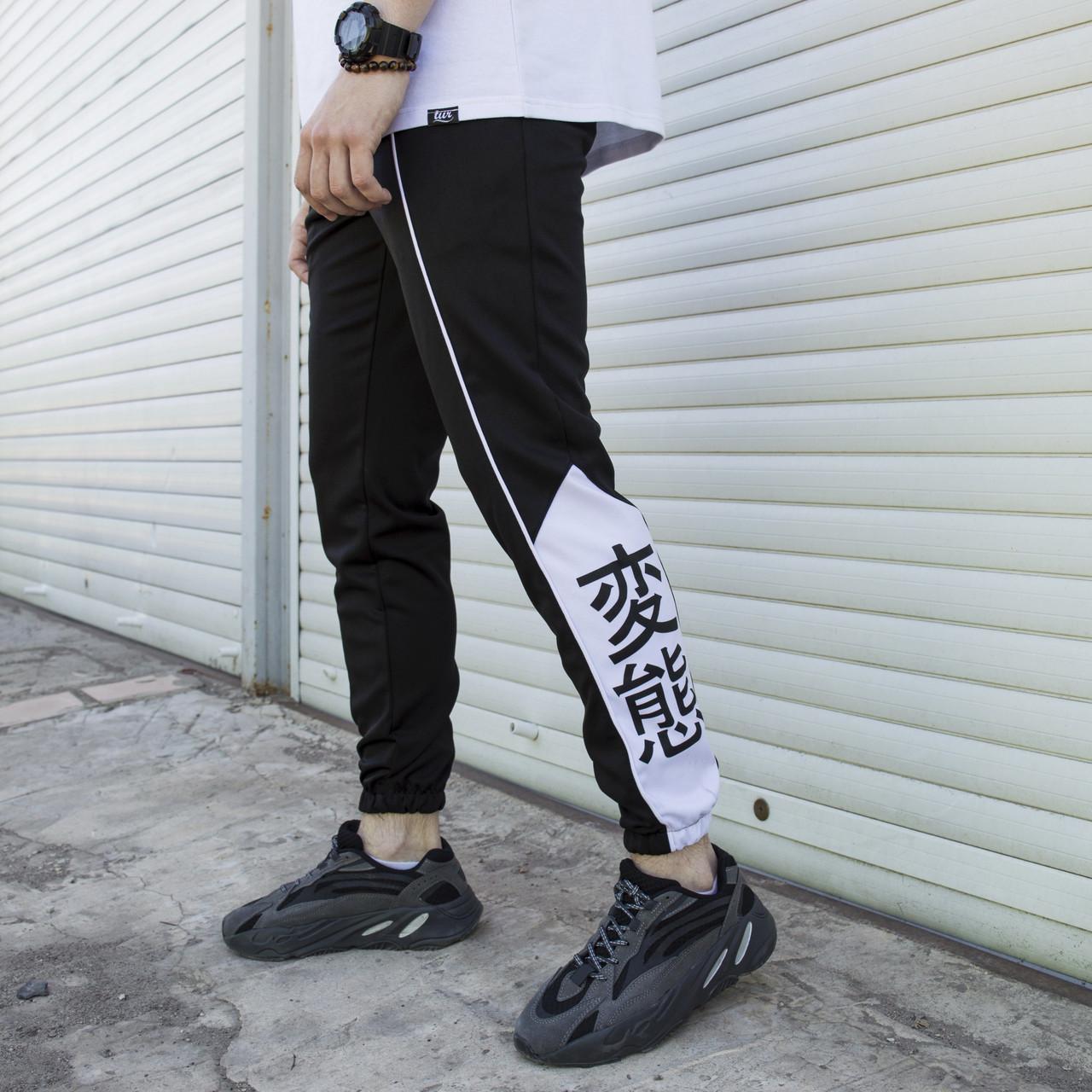 Cпортивные штаны мужские черно-белые с лампасом от бренда ТУР модель Крид (Creed)