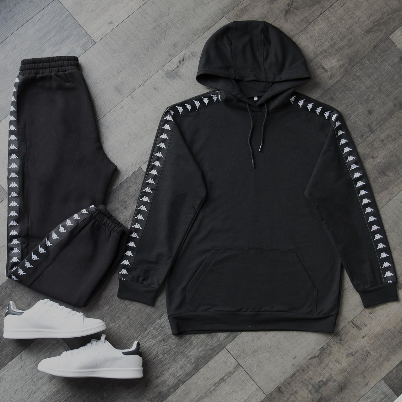Спортивний костюм чоловічий чорний сезон весна/літо (весняний) в стилі Kappa (Каппа)