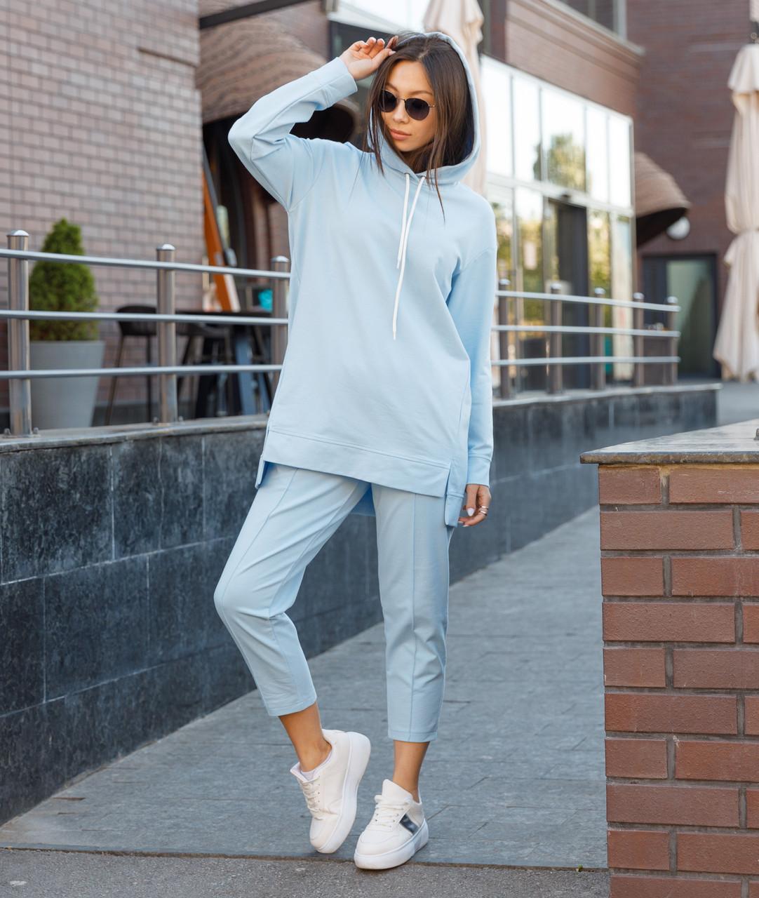 Костюм жіночий спортивний жіночі штани блакитного кольору Нефрит, жіноче блакитне худі Шива S, M, L весна/літо