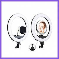 Кольцевая LED лампа на штативе с зеркалом 35 см. Профессиональный кольцевой свет для селфи видео и фото.