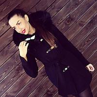 """Женское зимнее пальто """"Кобра"""" с мехом. Т-131"""