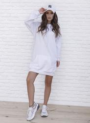 (S, M, L, XL) Женское белое платье худи в спортивном стиле vN10102