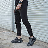 Спортивные штаны мужские черные с манжетом на молнии от бренда ТУР модель Феникс, фото 2