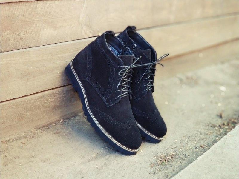 Демісезонні черевики броги чоловічі чорні замшеві 40-45