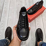 Кеди шкіряні чоловічі чорні Armani розмір 40, 41, 42, 43, 44, 45, фото 4