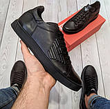 Кеди шкіряні чоловічі чорні Armani розмір 40, 41, 42, 43, 44, 45, фото 5