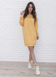 (S, M, L, XL) Женское оранжевое платье худи в спортивном стиле vN10103