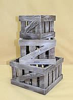Ящики декоративные КЯ-1   КОРИЧНЕВО-БЕЛЫЙ (3 ящика, квадратные)