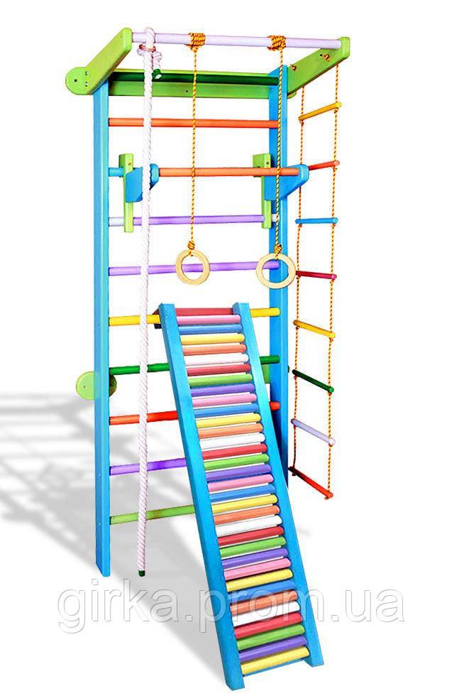 Шведская лестница детская  с турничком и роликовой доской (цвет на выбор)
