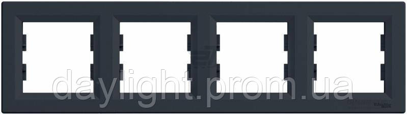 Рамка для розетки 4-я графит Schneider Electric Asfora
