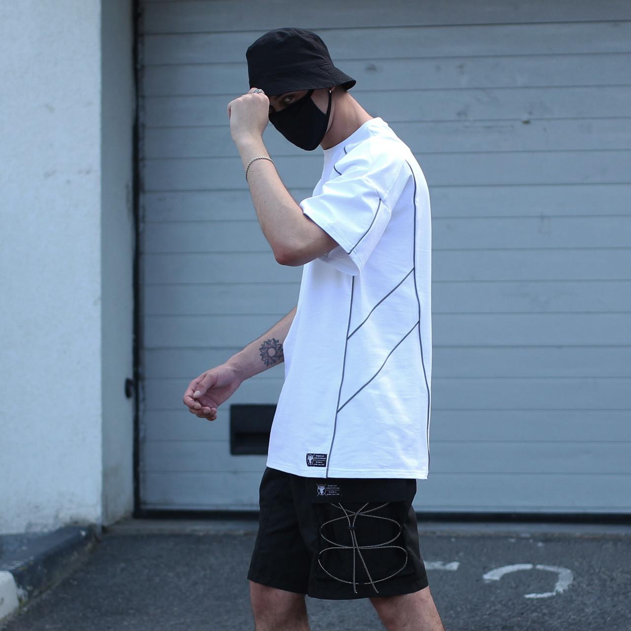 Футболка чоловіча біла з рефлективным кантом модель Сайбот (Saibot) бренд ТУР розмір S, M, L, XL