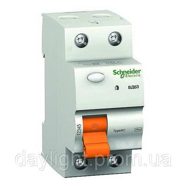 Выключатель нагрузки дифференциальный ВД63 2П 40А 30МА Schneider Electric