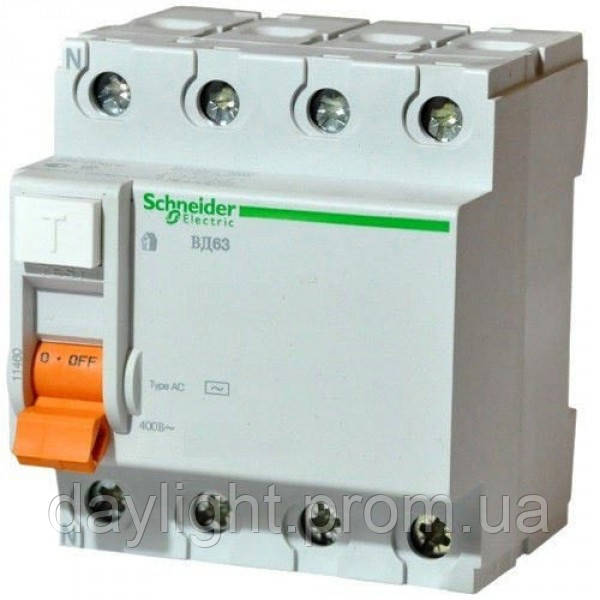Выключатель нагрузки дифференциальный ВД63 4П 25А 300МА Schneider Electric