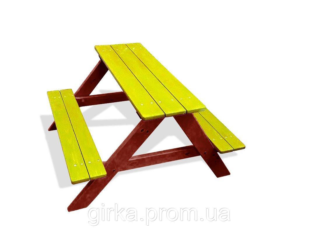 Стол лавка для дачи желтые