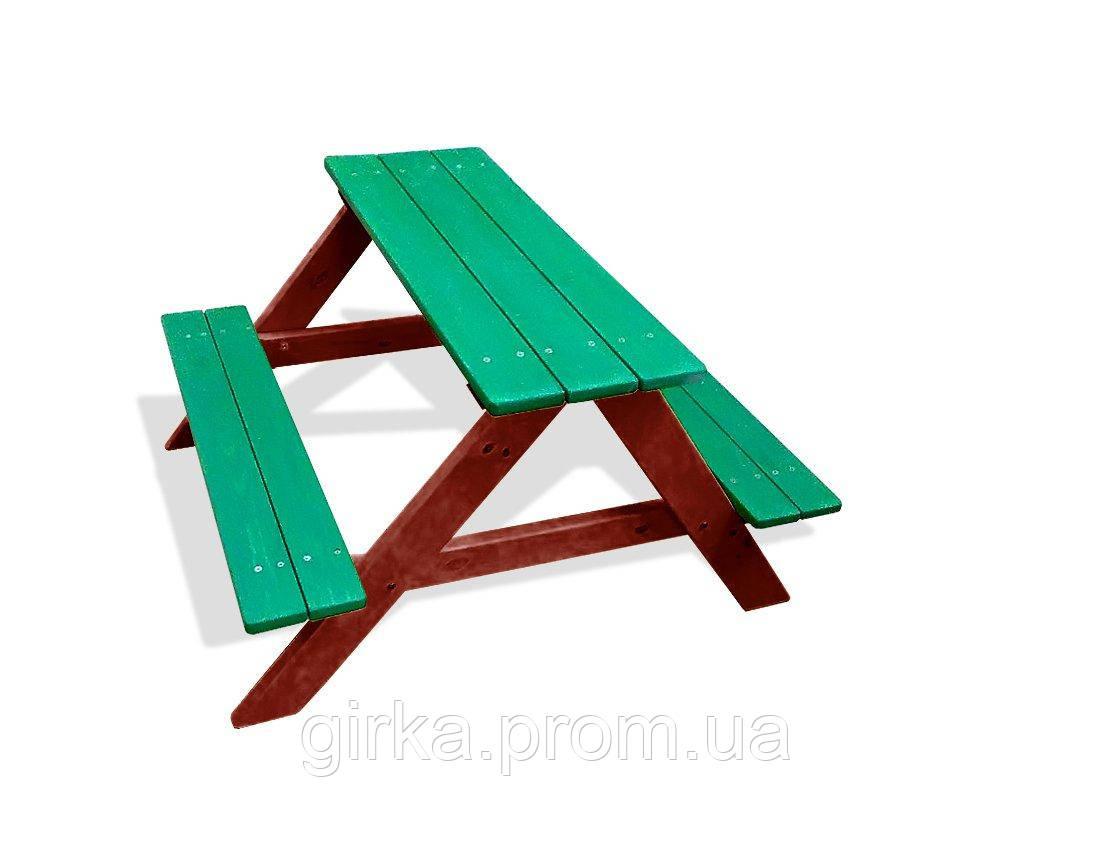 Стол лавка для дачи зелено-коричнивые