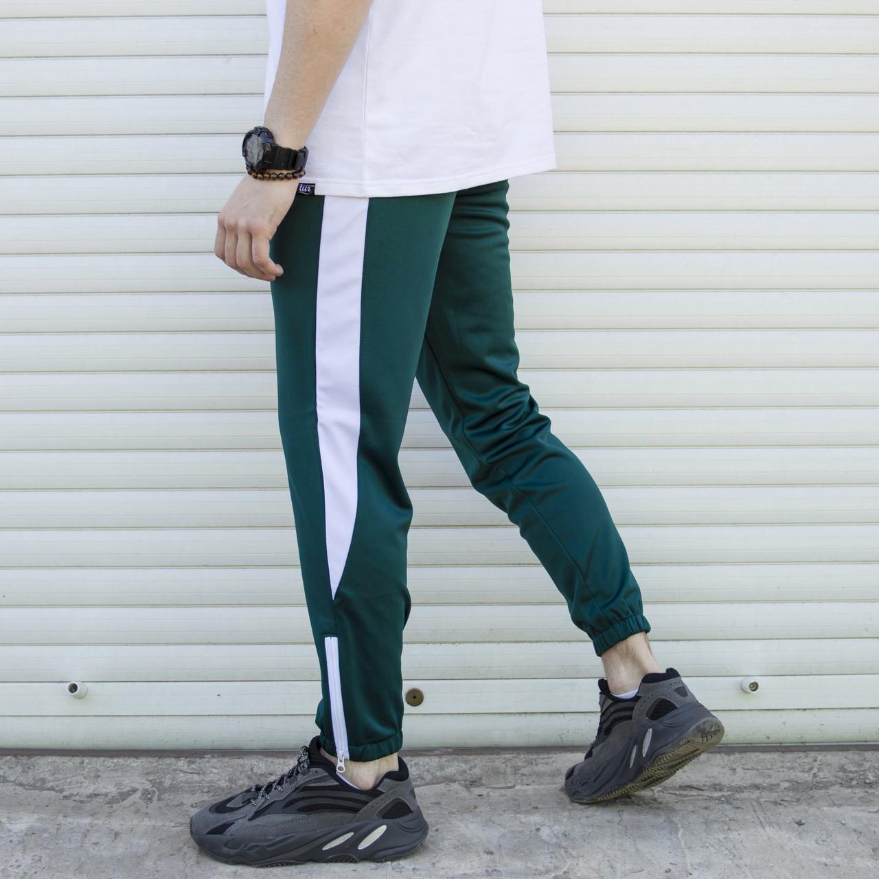Спортивні штани чоловічі зелені з білою смужкою Роккі (Rocky) від бренду ТУР