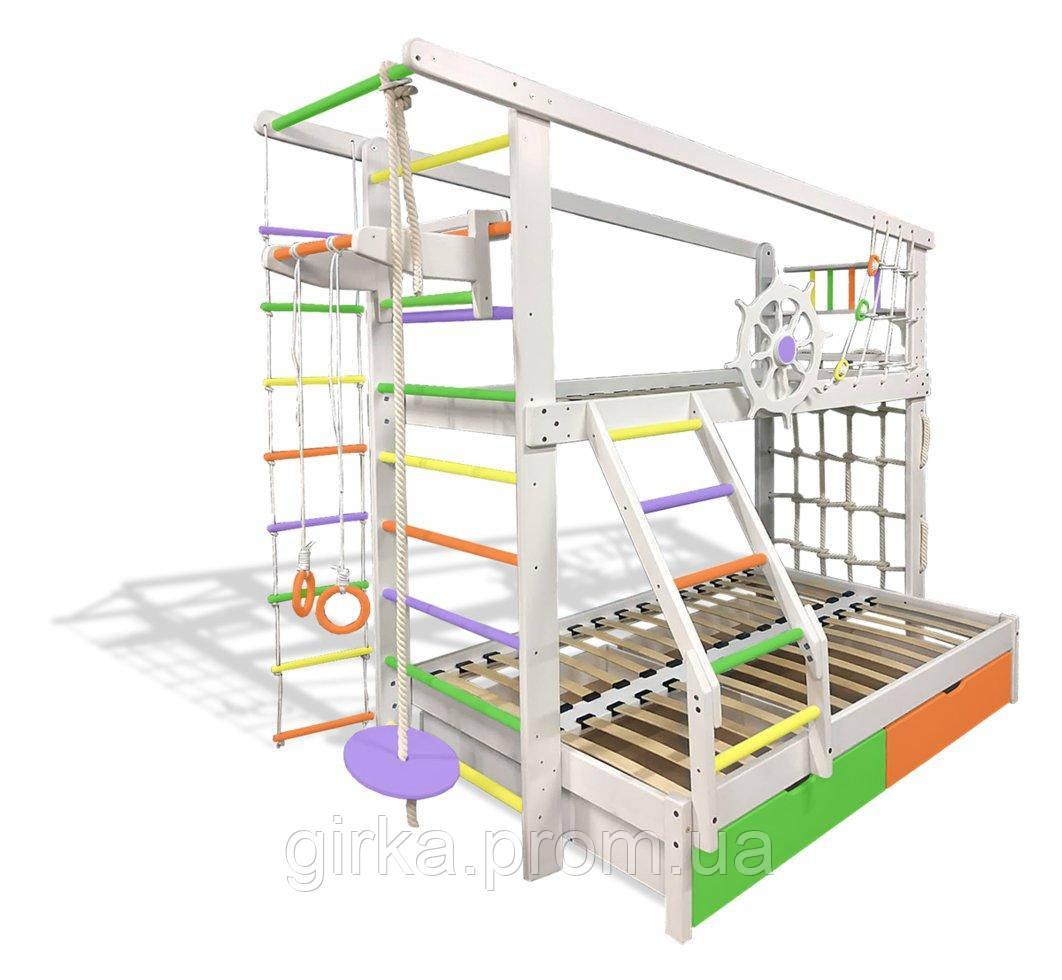 Двухъярусная спортивная кровать Капитан с увеличенным спальном местом с ящиками и навесными элементами цветная