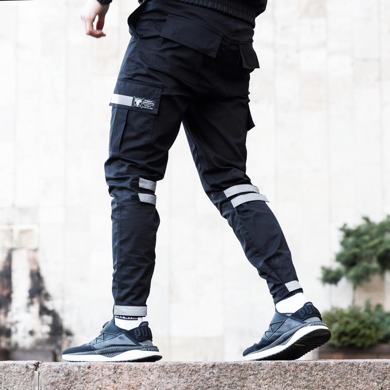 Зауженные карго штаны черные на липучках с рефлектом мужские от бренда ТУР Райот размер S, M, L, XL, XXL