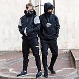 Зауженные карго штаны черные на липучках с рефлектом мужские от бренда ТУР Райот размер S, M, L, XL, XXL, фото 3