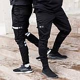 Завужені карго штани чорні на липучках з рефлектом чоловічі від бренду ТУР Райот розмір S, M, L, XL, XXL, фото 5