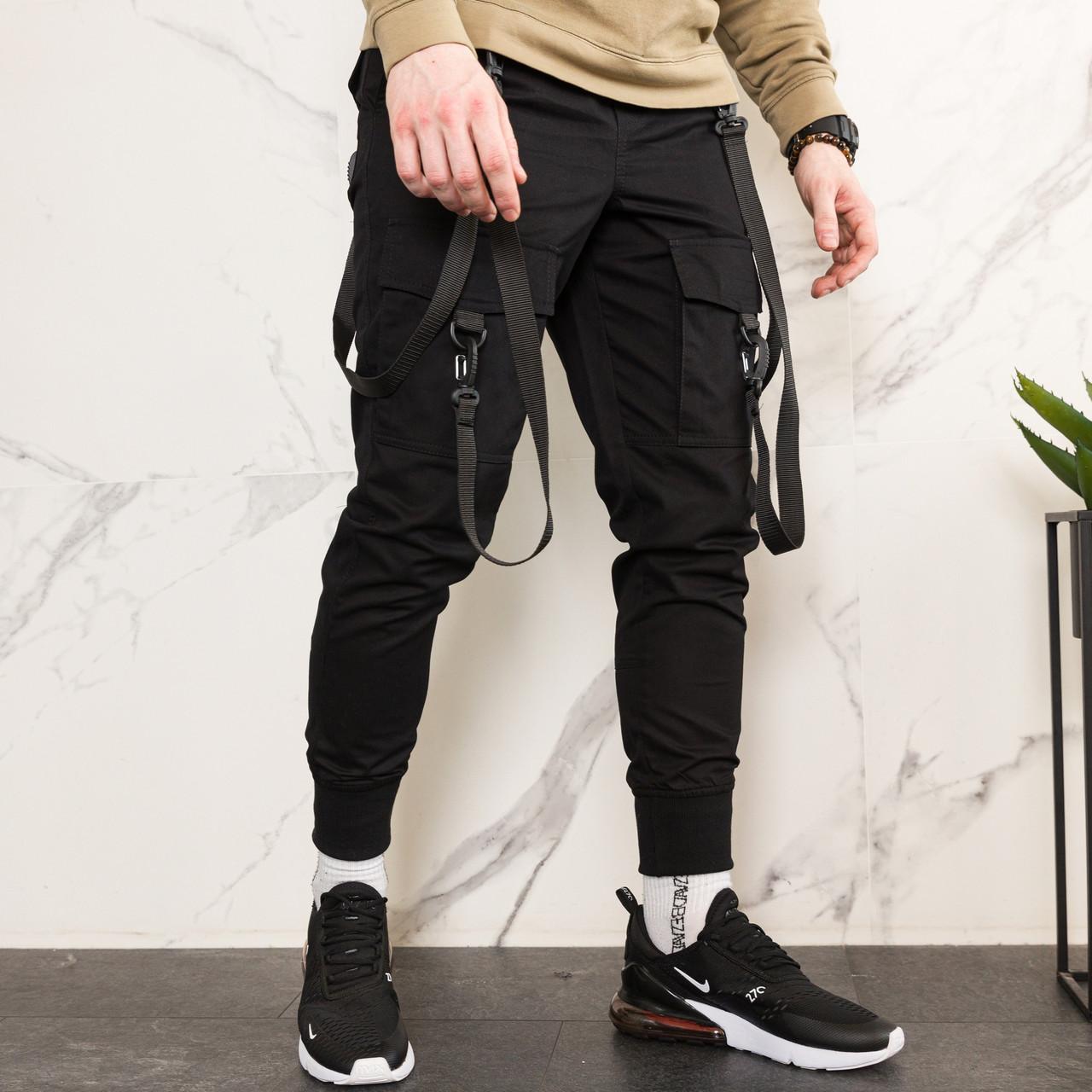 Карго завужені штани чоловічі чорні з лямками (штани з манжетом)