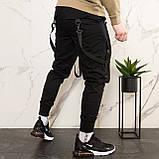 Карго завужені штани чоловічі чорні з лямками (штани з манжетом), фото 2