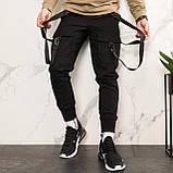 Карго завужені штани чоловічі чорні з лямками (штани з манжетом), фото 3