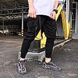 Карго завужені штани чоловічі чорні з лямками (штани з манжетом), фото 5
