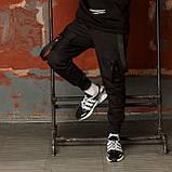 Карго завужені штани чоловічі чорні з лямками (штани з манжетом), фото 6