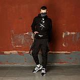 Карго завужені штани чоловічі чорні з лямками (штани з манжетом), фото 7