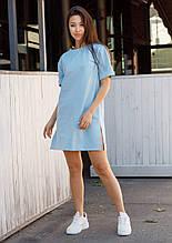 Сукня-футболка жіноча блакитне бренд ТУР модель Саріна (Sarina) розмір XS, S, M, L M