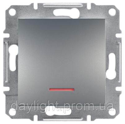 Выключатель с подсветкой сталь Schneider Electric Asfora