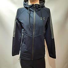 Чоловічий спортивний костюм на блискавці з капюшоном бавовна L XL 2XL 3XL Темно-синій