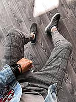 Спортивные штаны брюки мужские зауженные к низу демисезонные серые в клетку укороченные Турция