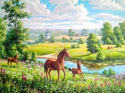 """Картина по номерам EOTG6459_O 40*50см """"Лужайка с лошадьми"""" OPP (холст на раме с краск.кисти)"""