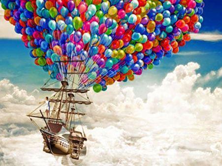 "Картина по номерам EOTG6423_40*50см ""Воздушные шарики"" OPP (холст на раме с краск.кисти)"