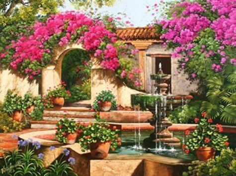 "Картина по номерам EOTG6340_O 40*50см ""Уютный дворик"" OPP (холст на раме с краск.кисти)"