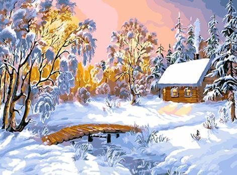 """Картина по номерам EOTG6224_O 40*50см """"Зима в лесу"""" OPP (холст на раме с краск.кисти)"""