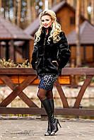 Модный женский полушубок | Темно-коричневый