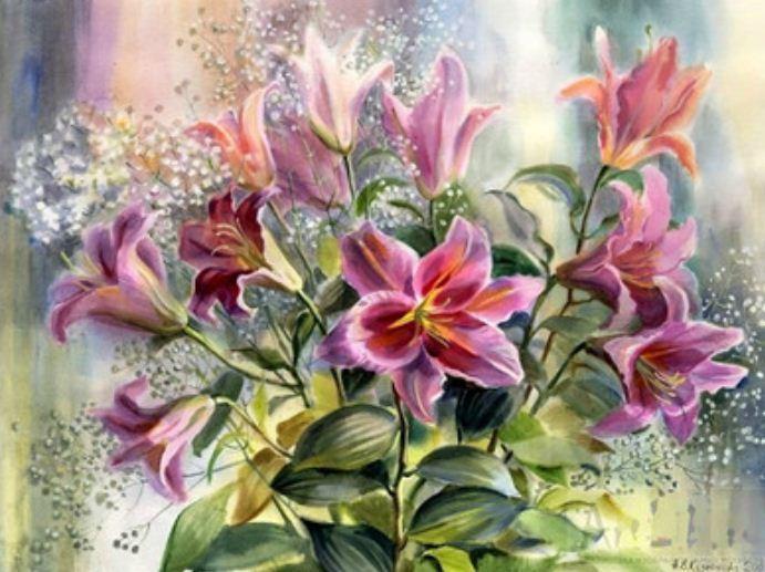 """Картина по номерам EOTG6130_O 40*50см """"Цветы"""" OPP (холст на раме с краск.кисти)"""